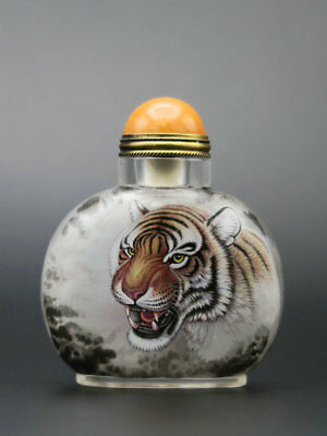 Chinese Glass Hand Inside-painted Animal Tigers Pattern Snuff Bottle