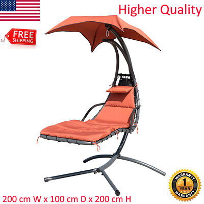 Hanging Chaise Lounger Chair Arc Stand Porch Swing Hammock Canopy Cushion Yard