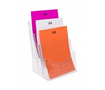 A4 Brochure Display Stand - 3 Pocket, Clear Plastic Construction BHA43