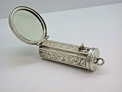 Sterling Silver Compact with Mirror 30g 5.5cm (55mm) Long Antique Collectable