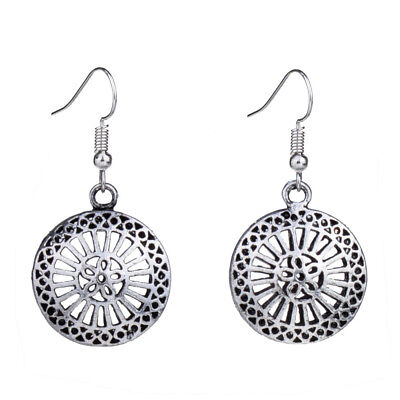 Antique Silver Mesh Hollow Out Filigree Round Drop Vintage Earrings For Women
