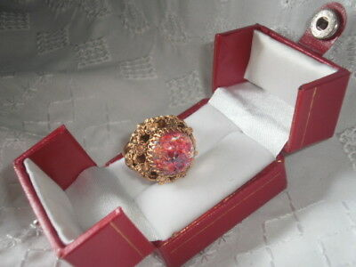 Faux Marble As Feature Antique Vintage Ladies Jewelry Ring Raised Setting