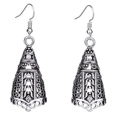 Retro Antique Silver Hollow Out Tribal Ethnic Gypsy Drop Earrings For Women