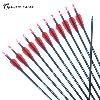"""12x 30/""""Spine500 Archery Carbon Arrow Bolts F Recurve Compound Bow Hunting Shooti"""
