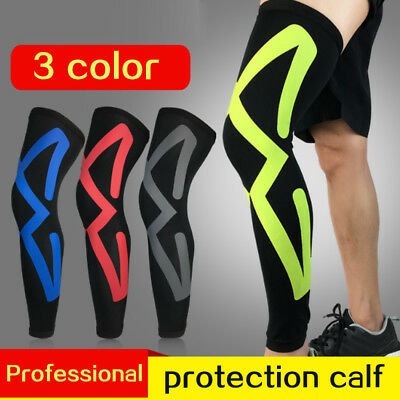 Compression Knee Leg Calf Support Sports Injury Guard Brace Long Sleeve Wrap New