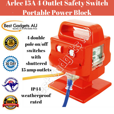 Arlec 15 Amp 3600 Watt 240 Volt 4 Outlet Safety Switch Portable Power Block
