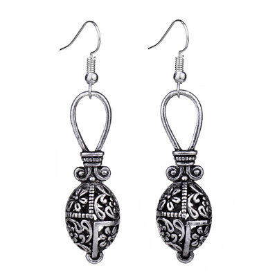 Antique Silver Flower Hollow Out Water Drop Vintage Earrings For Women Unique