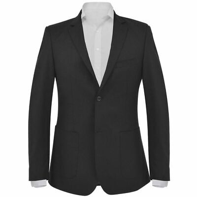 vidaXL Men's Business Blazer Size 48 Black Slim-Fit Formal Dinner Coat Jacket