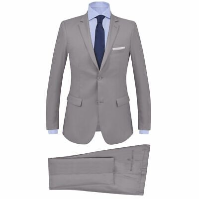 vidaXL Men's 2 Piece Business Suit Size 50 Light Grey Blazer Jacket Trousers