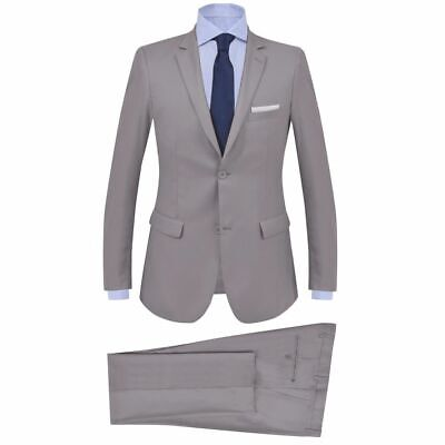 vidaXL Men's 2 Piece Business Suit Size 46 Light Grey Blazer Jacket Trousers