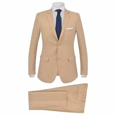 vidaXL Men's 2 Piece Business Suit Size 52 Beige Blazer Jacket Trousers Jeans