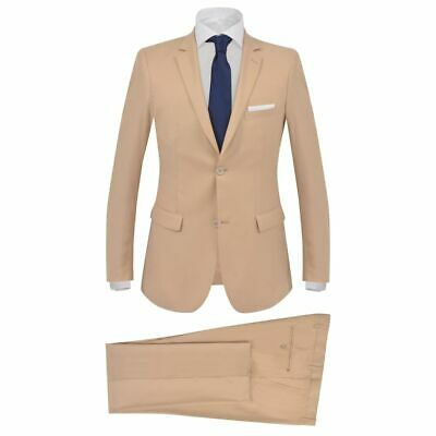 vidaXL Men's 2 Piece Business Suit Size 50 Beige Blazer Jacket Trousers Jeans
