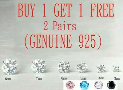 Women Men 925 Solid Sterling Silver Cubic Zirconia Cz Stud Earring Square Round