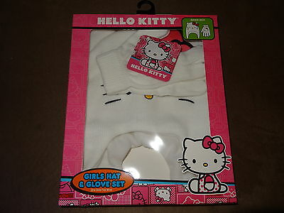 Hello Kitty Girl's Hat & Glove Set-One Size Fits Most-Free Shipping-New In Pkg.