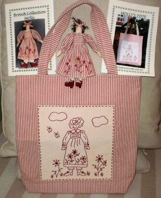 Embroidery Tote Bag & Cloth Doll Brooch & Patterns Quilting Fabric Sewing