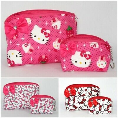 Hello Kitty Makeup Bag Coin Purse Cosmetic Gift Set Bow Travel Pink Card Holder