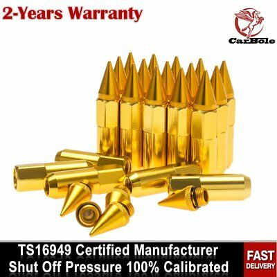 20pcs 60mm Gold M12X1.5 Cap Spiked Extended Tuner Aluminum Wheels Rims Lug Nuts