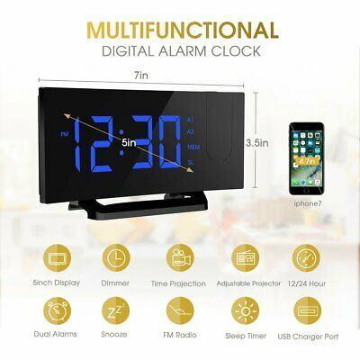 Mpow Projection Digital Weather Snooze Alarm Clock Color Display w LED Backlight