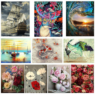 Flower Animal Digital Oil Painting DIY Kit Paint By Number Wall Canvas Art Decor