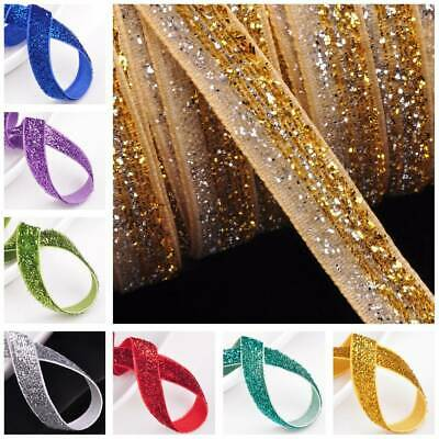 10 Yards 3/8'' Width Trim Sparkle Glitter Velvet Ribbons Sewing Fabric