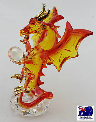 Handcrafted Glass Magical Dragon with Ball - Gold Plated