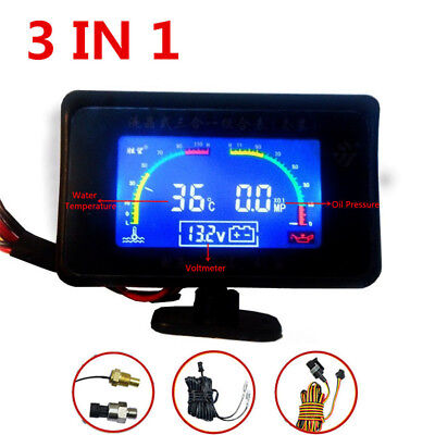 Car LCD Digital Water Temperature/Oil Pressure/Voltage Gauges Meter Monitor