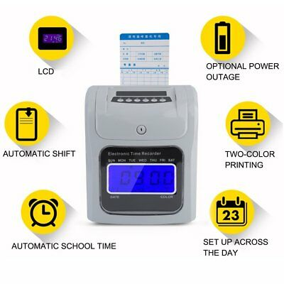 Employee Attendance Punch Time Clock Payroll Recorder LCD Display 100 Cards MS