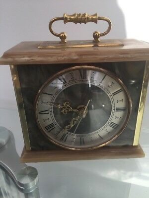 Onyx Mantle Clock With Brass