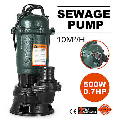 500W Submersible Sewage Dirty Waste Water Pump 26ft Cable garden Sewer pump