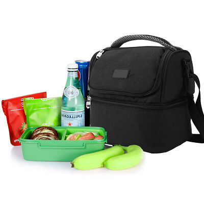 AU Dual Compartment Insulated Lunch Bag Cooler Bag School Picnic Work Safe