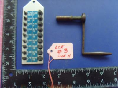 ref:lck#3 OLD long case clock SPARE PARTS crank key size 11