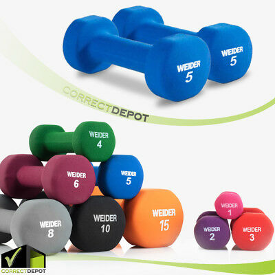 SET OF 2 NEOPRENE DUMBBELL Hand Weights Fitness Home Workout Exercise 1-15 lbs