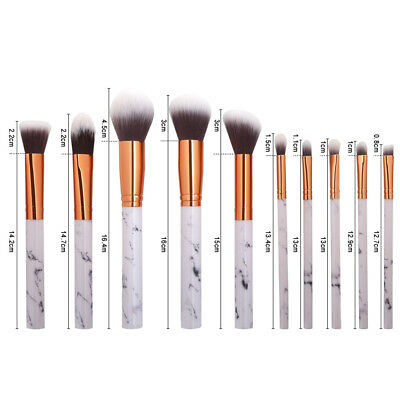 Marble Printed Pro Make-up Brushes Set 10 Pcs Face Powder Blush Eyeshadow Brush