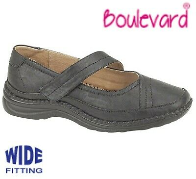 LADIES Extra Wide EEE Fit - Touch Fastening Black Bar Shoes - Size 3 4 5 6 7 8 9