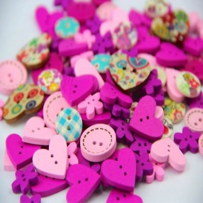 100pcs DIY 15mm Pink Purple Color Mix Shapes Wood Button Sewing Craft 2 Holes Wo
