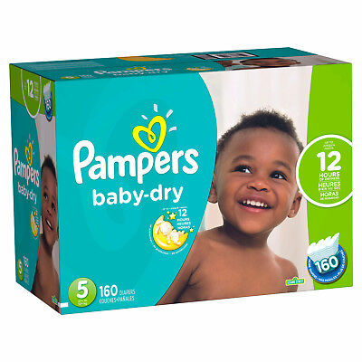 NEW Pampers Baby Dry Diapers Size 5, 160 Count