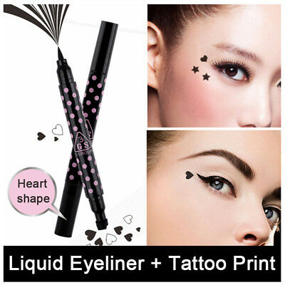 Black Waterproof Liquid Eyeliner Pen with Heart Stamp Tattoo Make up Shape