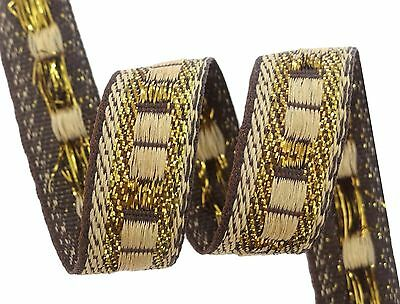 Woven Indian Trim Brown Craft Ribbon 1.7 Cm Wide Ethnic Sari Border By 9 Yard