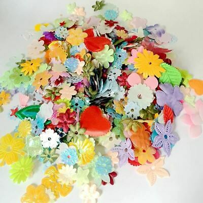 100pcs Mix Color Felt Padded Flowers Appliques Craft Sewing 0615