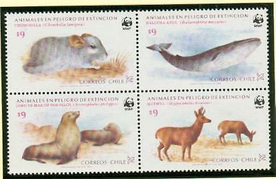 Chile whale Wal seal Robbe deer Hirsch ** MNH WWF by62