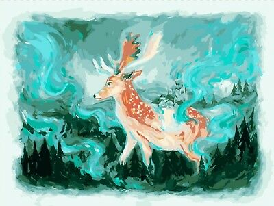 THE GIANT STAG PAINTING PAINT BY NUMBERS CANVAS KIT 12 x 16 ins FRAMELESS