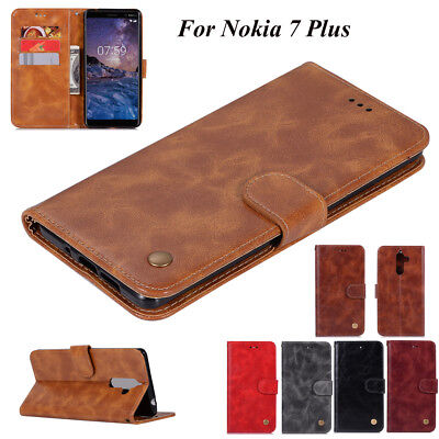 For Nokia 7 Plus, Luxury Retro Flip Leather Stand Wallet Card Slots Cover Case