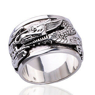 Ancient Dragon Ring for Men's Fashion .925 Sterling Silver Jewelry