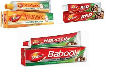 Dabur Herbal Toothpaste Meswak Red Babool Miswak Ayurvedic Dental Care