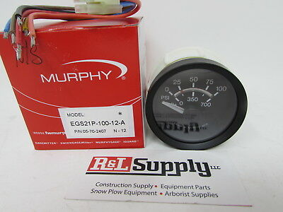 New Murphy 100Psi Electric Oil Pressure Gauge Egs21P-100-12-A Part # 05-70-2407