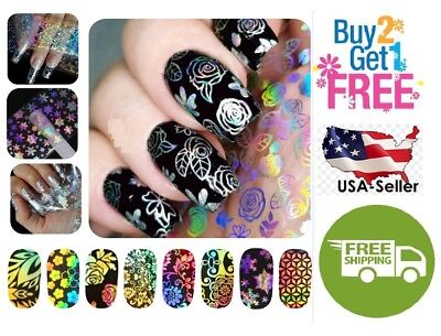 A:54 Colors Holographic Glitter Foil Nail Art Transfer *BUY 2GET 1 FREE*