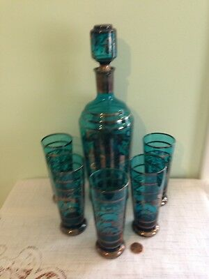 Vintage Applied Silver Overlay Turquoise Glass Decanter and Glasses 7 PC Set