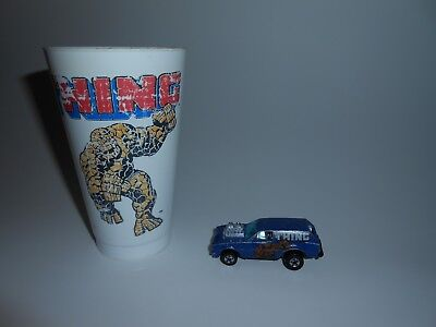 Vtg 1970's Marvel The Thing Super Hero Lot Hot Wheels Poison Pinto & Slurpee Cup