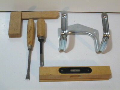 Set of 5 small woodworking tools and a tool hanging hook