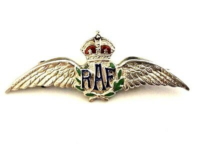 Vintage Wwii Raf Royal Air Force Sterling Silver Pilot Wings Pin